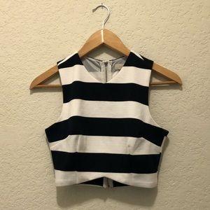 Navy stripe Crop Top